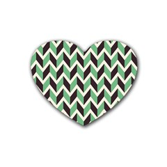 Zigzag Chevron Pattern Green Black Heart Coaster (4 Pack)