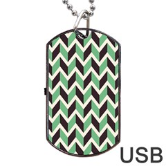 Zigzag Chevron Pattern Green Black Dog Tag Usb Flash (two Sides)