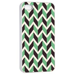 Zigzag Chevron Pattern Green Black Apple Iphone 4/4s Seamless Case (white)