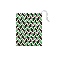 Zigzag Chevron Pattern Green Black Drawstring Pouches (small)