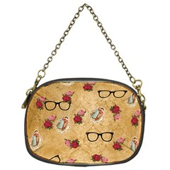 Vintage Glasses Beige Chain Purses (one Side)