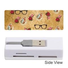 Vintage Glasses Beige Memory Card Reader (stick)