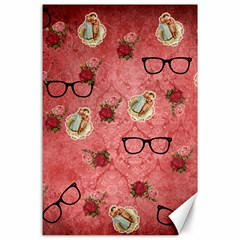Vintage Glasses Rose Canvas 24  X 36