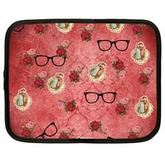 Vintage Glasses Rose Netbook Case (large)