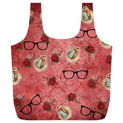 Vintage Glasses Rose Full Print Recycle Bags (l)