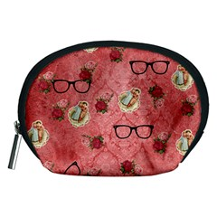 Vintage Glasses Rose Accessory Pouches (medium)