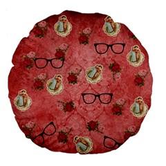 Vintage Glasses Rose Large 18  Premium Flano Round Cushions