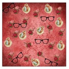 Vintage Glasses Rose Large Satin Scarf (square)