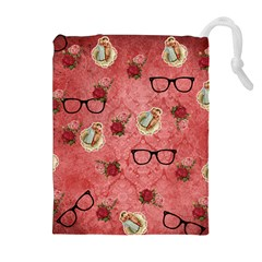 Vintage Glasses Rose Drawstring Pouches (extra Large)