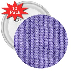 Knitted Wool Lilac 3  Buttons (10 Pack)