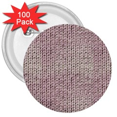 Knitted Wool Pink Light 3  Buttons (100 Pack)