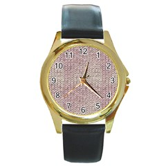 Knitted Wool Pink Light Round Gold Metal Watch