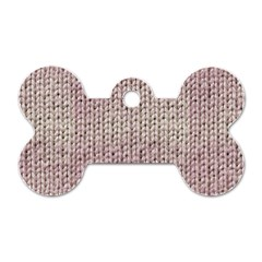 Knitted Wool Pink Light Dog Tag Bone (one Side)