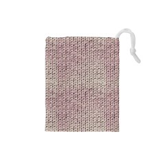 Knitted Wool Pink Light Drawstring Pouches (small)
