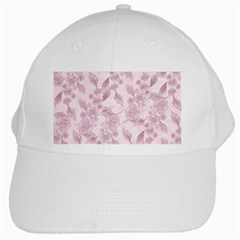 Pink Floral White Cap