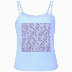 Pink Floral Baby Blue Spaghetti Tank