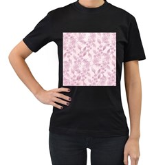 Pink Floral Women s T Shirt (black) (two Sided)