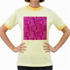 Knitted Wool Square Green Women s Fitted Ringer T Shirts