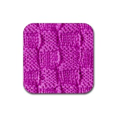 Knitted Wool Square Green Rubber Coaster (square)
