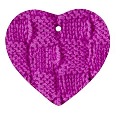 Knitted Wool Square Green Heart Ornament (two Sides)