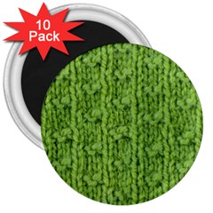 Knitted Wool Chain Green 3  Magnets (10 Pack)