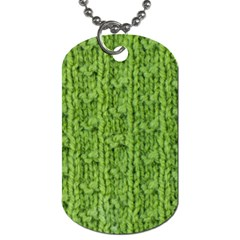 Knitted Wool Chain Green Dog Tag (one Side)
