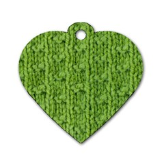 Knitted Wool Chain Green Dog Tag Heart (one Side)