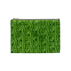 Knitted Wool Chain Green Cosmetic Bag (medium)