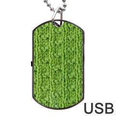 Knitted Wool Chain Green Dog Tag Usb Flash (one Side)