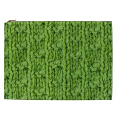 Knitted Wool Chain Green Cosmetic Bag (xxl)