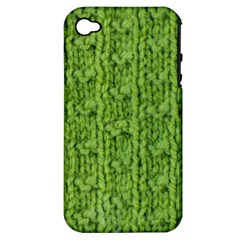 Knitted Wool Chain Green Apple Iphone 4/4s Hardshell Case (pc+silicone)