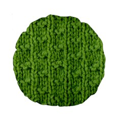 Knitted Wool Chain Green Standard 15  Premium Round Cushions