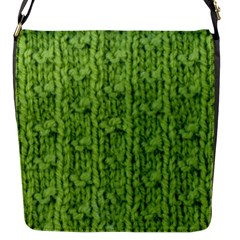 Knitted Wool Chain Green Flap Messenger Bag (s)