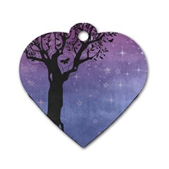 Silhouette Tree Dog Tag Heart (two Sides)