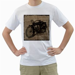 Bicycle Letter Men s T Shirt (white) (two Sided)
