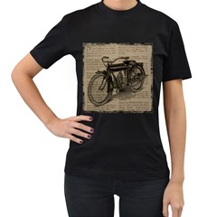 Bicycle Letter Women s T Shirt (black) (two Sided)