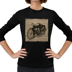 Bicycle Letter Women s Long Sleeve Dark T Shirts