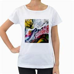 Abstract Art Detail Painting Women s Loose Fit T Shirt (white)