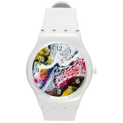 Abstract Art Detail Painting Round Plastic Sport Watch (m)