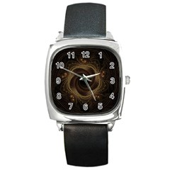 Beads Fractal Abstract Pattern Square Metal Watch