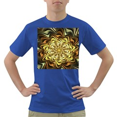 Fractal Flower Petals Gold Dark T Shirt