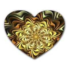 Fractal Flower Petals Gold Heart Mousepads