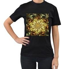 Fractal Flower Petals Gold Women s T Shirt (black)