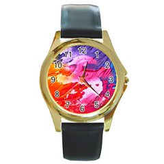 Abstract Art Background Paint Round Gold Metal Watch
