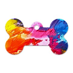 Abstract Art Background Paint Dog Tag Bone (one Side)
