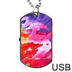 Abstract Art Background Paint Dog Tag Usb Flash (two Sides)