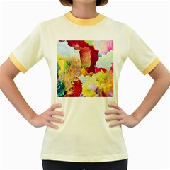 Art Detail Abstract Painting Wax Women s Fitted Ringer T Shirts
