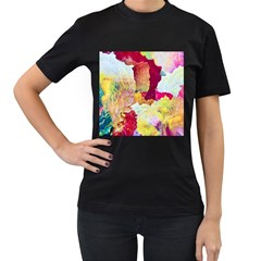 Art Detail Abstract Painting Wax Women s T Shirt (black) (two Sided)