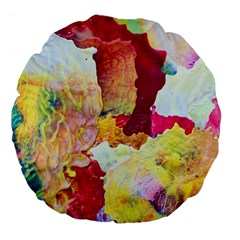 Art Detail Abstract Painting Wax Large 18  Premium Flano Round Cushions