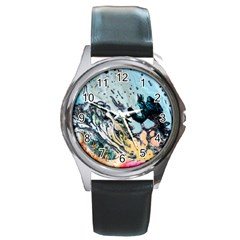 Abstract Structure Background Wax Round Metal Watch